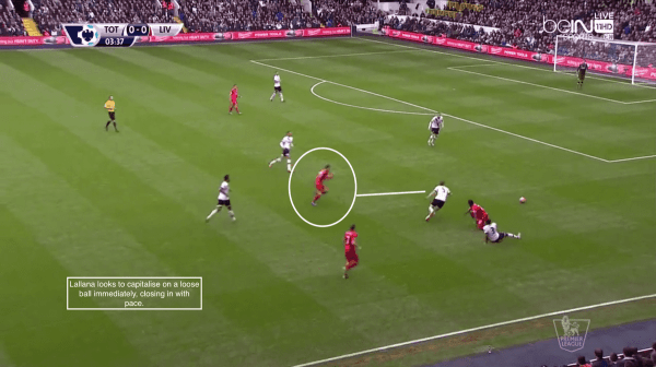 Lallana looks to capitalise on a loose ball immediately, closing in with pace.