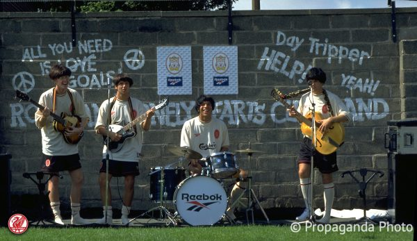 Liverpool players pose as The Beatles to launch the new Reebok ecru away kit at the club's Melwood Training Ground. Steve McManaman, Rob Jones, Stan Collymore, Jason McAteer. (Pic by David Rawcliffe/Propaganda)