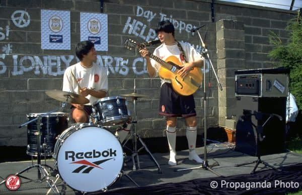Liverpool's Stan Collymore and Jason McAteer pose as The Beatles to launch the new Reebok ecru away kit at the club's Melwood Training Ground. (Pic by David Rawcliffe/Propaganda)