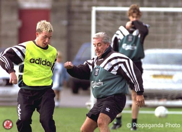 Liverpool's Robbie Fowler (L) and manager Roy Evans during a training session at Melwood Training Ground.