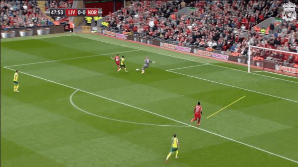 48 mins, Sturridge vs. Norwich - Supporting run for Ings' goal