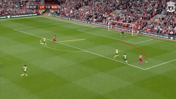 52 mins, Sturridge vs. Norwich - Supporting run for Ings