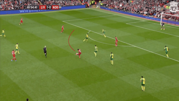 55 mins, Sturridge vs. Norwich - Pass into Coutinho's path