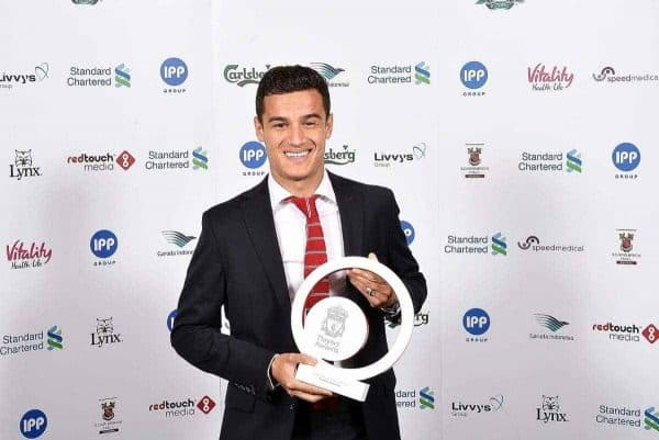 LIVERPOOL, ENGLAND - MAY 19: (THE SUN OUT, THE SUN ON SUNDAY OUT) Philippe Coutinho of Liverpool poses for a photograph after winning the players player of the year award during the Liverpool Player of the Year Awards on May 19, 2015 in Liverpool, England. (Photo by Andrew Powell/Liverpool FC via Getty Images) *** Local Caption *** Philippe Coutinho