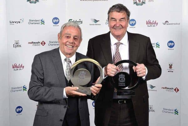 LIVERPOOL, ENGLAND - MAY 19: (THE SUN OUT, THE SUN ON SUNDAY OUT) Ian St John and Ron Yeats former players of Liverpool pose for a photograph after winning the Lifetime Achievement Award during the Liverpool Player of the Year Awards on May 19, 2015 in Liverpool, England. (Photo by Andrew Powell/Liverpool FC via Getty Images) *** Local Caption *** Ian St John; Ron Yeats