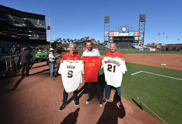 SAN FRANCISCO, CA - JULY 25:  (THE SUN OUT, THE SUN ON SUNDAY OUT) Ian Rush and Gary Mcallister ambassadors of Liverpool meet Jeremy Affeldt retired professional baseball pitcher for the San Francisco Giants at the AT and T Park during US Pre-Season Tour on July 25, 2016 in San Francisco, California.  (Photo by Andrew Powell/Liverpool FC via Getty Images)