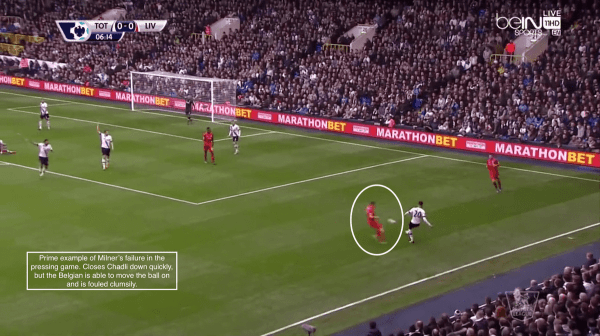 Prime example of Milner's failure in the pressing game. Closes Chadli down quickly, but the Belgian is able to move the ball on and is fouled clumsily.