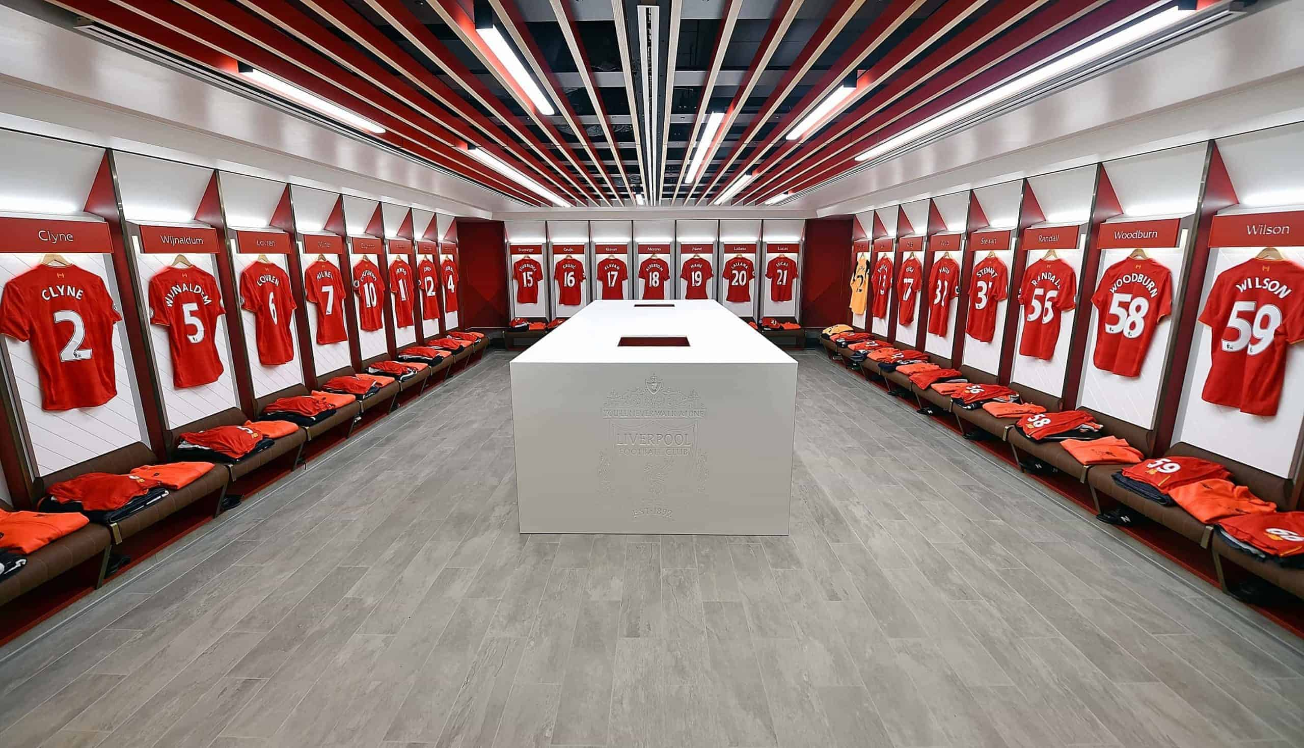 LIVERPOOL, ENGLAND - MARCH 31: New Dressing room of Liverpool Unveiled at Anfield on March 31, 2017 in Liverpool, England. (Photo by Andrew Powell/Liverpool FC via Getty Images)