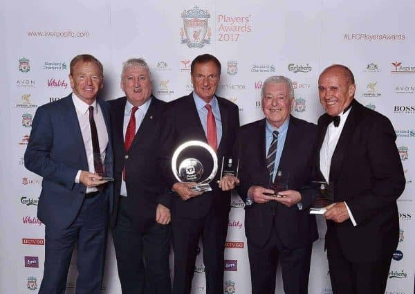 LIVERPOOL, ENGLAND - MAY 09:  (THE SUN OUT, THE SUN ON SUNDAY OUT) David Fairclough, David Johnson, Phil Thompson, Ian Callaghan, Phil Neal ex players of Liverpool after winning the Outstanding Team Achievement Award during the Liverpool FC Player Awards at Anfield on May 9, 2017 in Liverpool, England.  (Photo by Andrew Powell/Liverpool FC via Getty Images) *** Local Caption *** David Fairclough; David Johnson; Phil Thompson; Ian Callaghan; Phil Neal