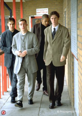 Liverpool's Jason McAteer, Robbie Fowler, Stan Collymore and Steve McManaman walk along the Pavillion at the club's Melwood Training Ground. (Pic by David Rawcliffe/Propaganda)