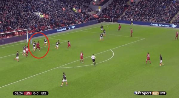 Benteke then finds himself in a similar position, with Ibe sending a cross from the right.