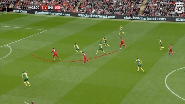9 mins, Sturridge vs. Norwich - Pass to offside Benteke