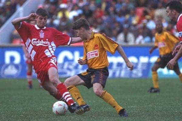 JOHANNESBURG, REPUBLIC OF SOUTH AFRICA - Sunday, May 29, 1994: Liverpool's Phil Charnock in action against the Iwisa Kaizer Chiefs during the United Bank Soccer Festival friendly match at Ellis Park Stadium. (Pic by David Rawcliffe/Propaganda)