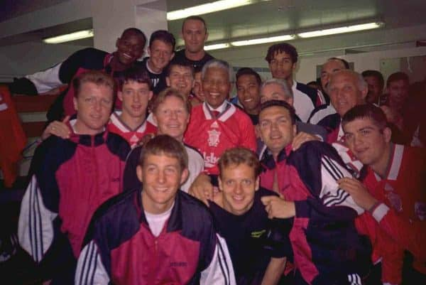 JOHANNESBURG, REPUBLIC OF SOUTH AFRICA - Sunday, May 29, 1994: Life-long Liverpool FC supporter and newly elected President of the Republic of South Africa Nelson Mandela meet the Liverpool players during the United Bank Soccer Festival friendly match at Ellis Park Stadium. (Pic by David Rawcliffe/Propaganda)..Michael Thomas, Lee Jones, Ashley Neal, David James, Bruce Grobbelaar, Steve Nicol, Robbie Fowler, Sammy Lee, Phil Charnock, Nelson Mandela, John Barnes, Roy Evans, Ronnie Moran, Andrew Harris, Lee Jones, Neil Ruddock, Dominic Matteo.