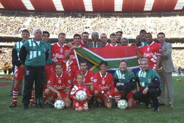 JOHANNESBURG, REPUBLIC OF SOUTH AFRICA - Sunday, May 29, 1994: Life-long Liverpool FC supporter and newly elected President of the Republic of South Africa Nelson Mandela meet the Liverpool players during the United Bank Soccer Festival friendly match at Ellis Park Stadium. (Pic by David Rawcliffe/Propaganda)..Back row L-R: Andrew Harris, coach Ronnie Moran, Iain Brunskill, Steve Nicol, Nigel Clough, Neil Ruddock, president of South Africa Nelson Mandela, Ashley Neal, Phil Charnock, David James, Michael Thomas, physio Max Thompson, John Barnes. Front row L-R: Rob Jones, Don Hutchinson, Lee Jones, coach Sammy Lee, manager Roy Evans.