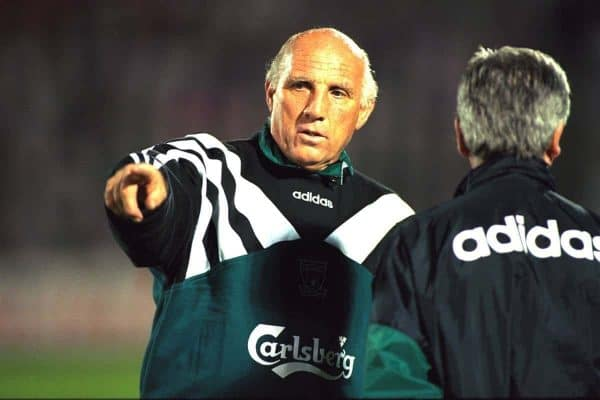 VLADIKAVKAZ, RUSSIA - Monday, September 11, 1995: Liverpool's coach Ronnie Moran training at the Republican Spartak Stadium ahead of the UEFA Cup 1st Round 1st Leg match against FC Alania Spartak Vladikavkaz. (Photo by David Rawcliffe/Propaganda)