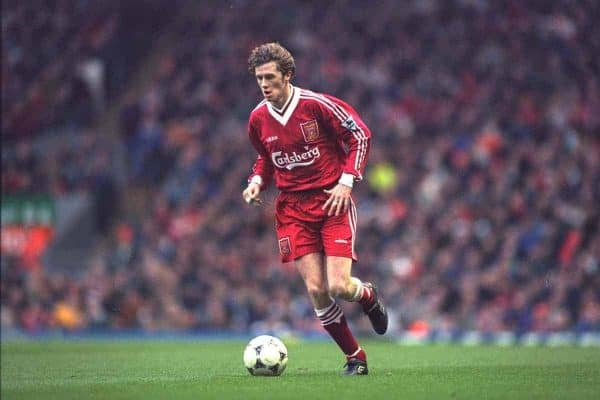 Liverpool's Steve McManaman in action against Rochdale during the FA Cup 3rd Round match at Anfield. (Photo by David Rawcliffe/Propaganda)