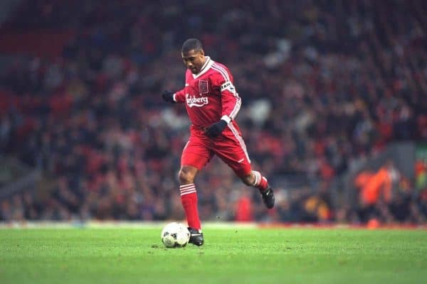 LIVERPOOL, ENGLAND - Saturday, January 6, 1996: Liverpool's John Barnes in action against Rochdale during the FA Cup 3rd Round match at Anfield. (Photo by David Rawcliffe/Propaganda)