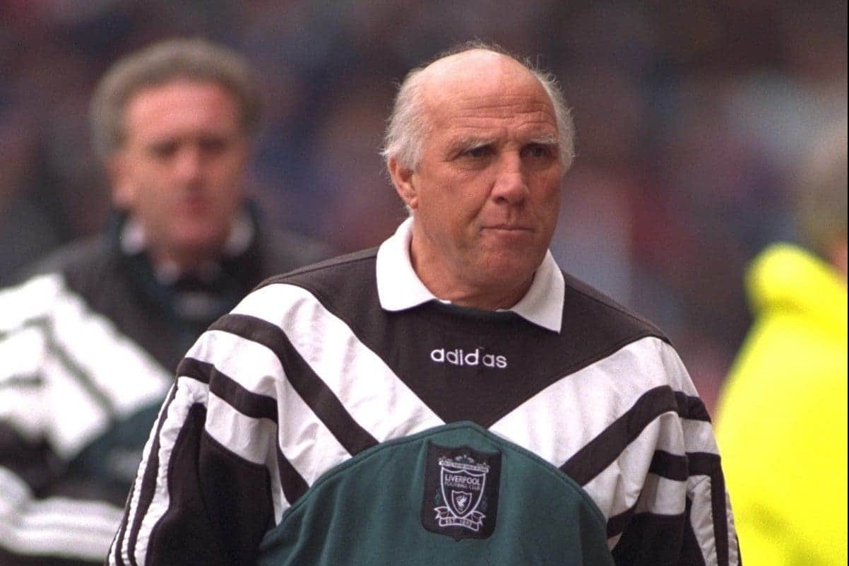 COVENTRY, ENGLAND - Saturday, April 6, 1996: Liverpool's coach Ronnie Moran against Coventry City during the Premiership match at Highfield Road. Coventry won 1-0. (Pic by David Rawcliffe/Propaganda)