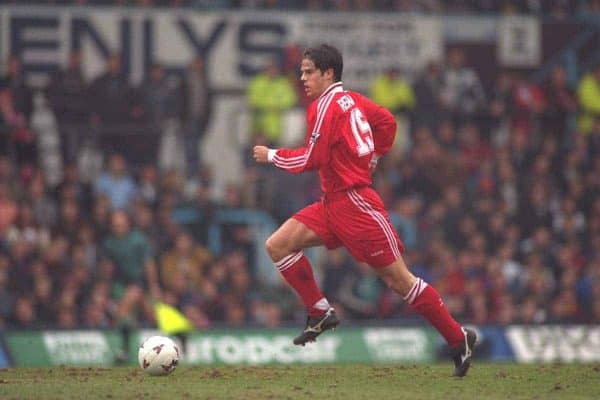 COVENTRY, ENGLAND - Saturday, April 6, 1996: Liverpool's Jamie Redknapp in action against Coventry City during the Premiership match at Highfield Road. Coventry won 1-0. (Pic by David Rawcliffe/Propaganda)
