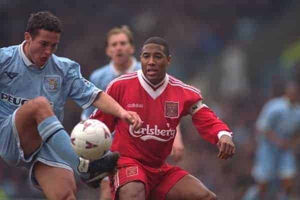 COVENTRY, ENGLAND - Saturday, April 6, 1996: Liverpool's captain John Barnes in action against Coventry City during the Premiership match at Highfield Road. Coventry won 1-0. (Pic by David Rawcliffe/Propaganda)