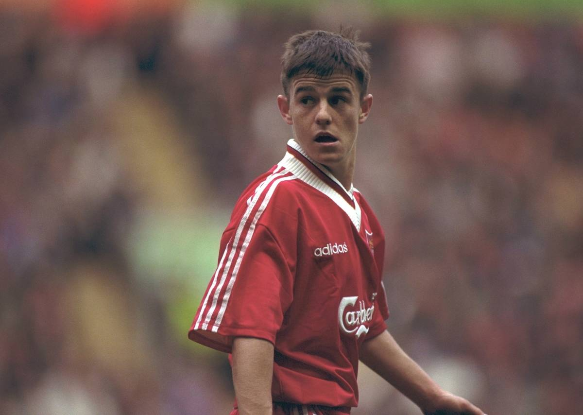 LIVERPOOL, ENGLAND - MAY 1996: Liverpool's David Thompson in action against West Ham United during the FA Youth Cup Final 2nd Leg at Anfield. (Pic by David Rawcliffe/Propaganda)