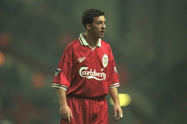 Liverpool, England - Wednesday, November 27th, 1996: Liverpool's Robbie Fowler in action during the 4-2 victory over Arsenal during the 4th Round of the League Cup at Anfield. (Pic by David Rawcliffe/Propaganda)