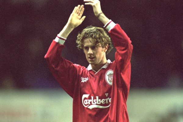London, England - Monday, December 2, 1996: Liverpool's Steve McManaman in action during the 2-0 Premier League victory over Tottenham Hotspur at White Hart Lane. (Pic by David Rawcliffe/Propaganda)