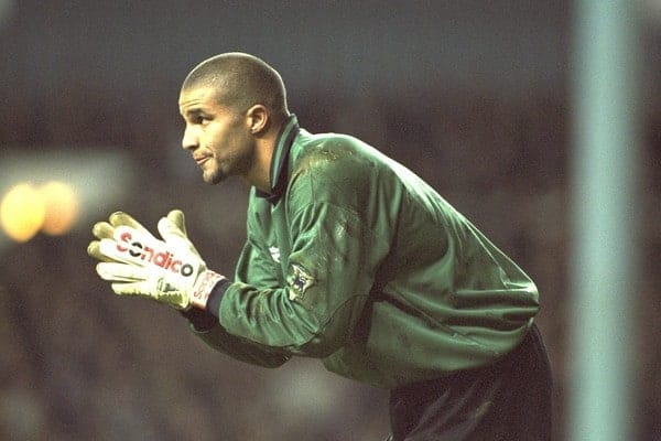 London, England - Monday, December 2, 1996: Liverpool's goalkeeper David James in action during the 2-0 Premier League victory over Tottenham Hotspur at White Hart Lane. (Pic by David Rawcliffe/Propaganda)