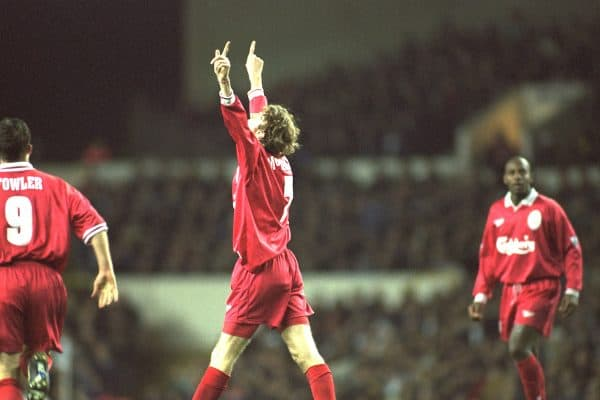London, England - Monday, December 2, 1996: Liverpool's Steve McManaman celebrates scoring the second goal against Tottenham Hotspur during the Premiership match at White Hart Lane. (Pic by David Rawcliffe/Propaganda)