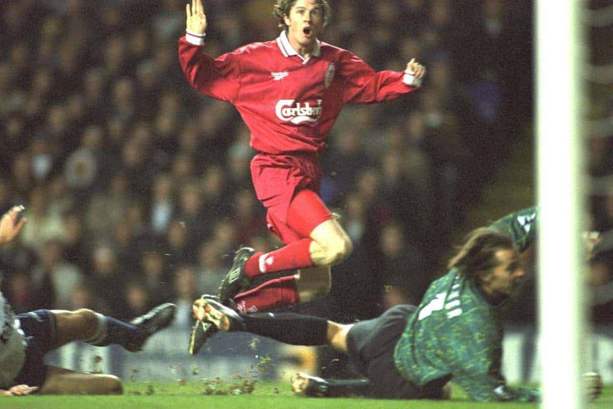 Liverpool's Steve McManaman in action during the 2-0 Premier League victory over Tottenham Hotspur at White Hart Lane. (Pic by David Rawcliffe/Propaganda)