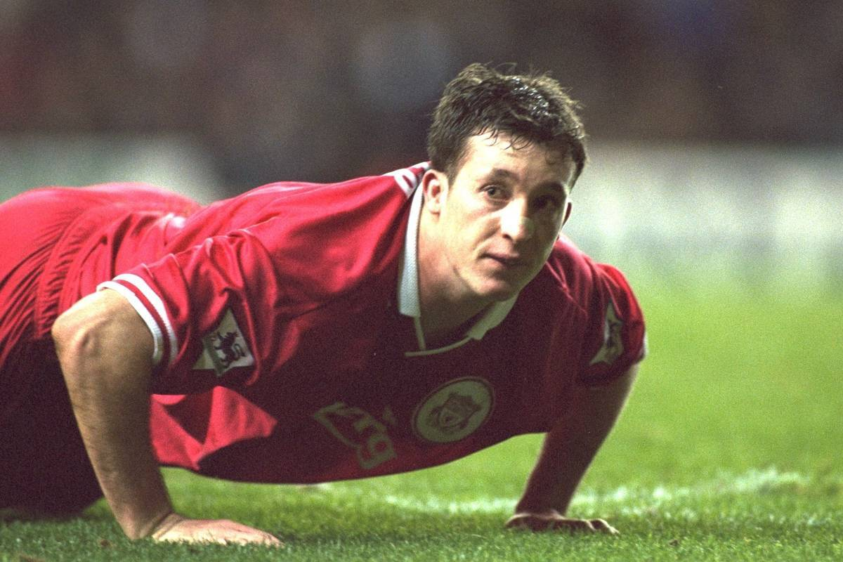 London, England - Monday, December 2, 1996: Liverpool's Robbie Fowler in action during the 2-0 Premier League victory over Tottenham Hotspur at White Hart Lane. (Pic by David Rawcliffe/Propaganda)