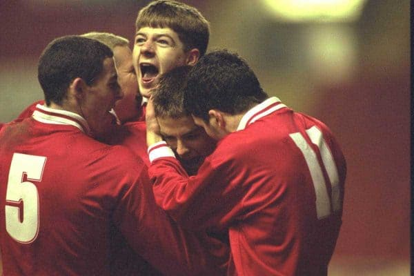 Liverpool's Michael Owen celebrates scoring from the penalty spot Manchester United with team-mate Steven Gerrard during the FA Youth Cup match at Anfield. United won 2-1. (Pic by David Rawcliffe/Propaganda)