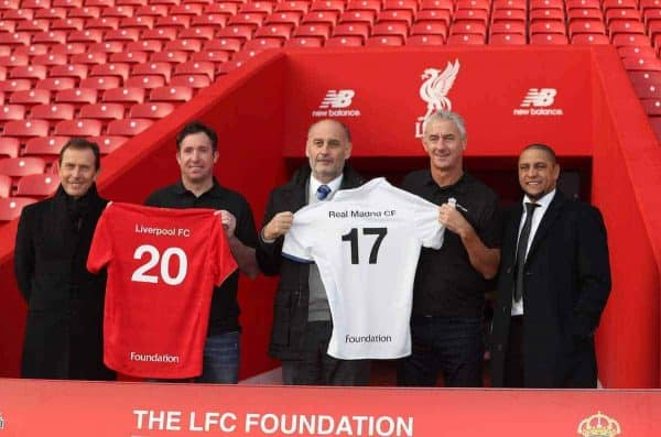 LIVERPOOL, ENGLAND - Monday, December 5, 2016: Liverpool FC Legends foundation announce a charity match against Real Madrid to be played at Andield on Saturday March 25 2017. Emilio Butragueño, Robbie Fowler, Ricardo Gallego, Ian Rush, Roberto Carlos. (Pic by David Rawcliffe/Propaganda)