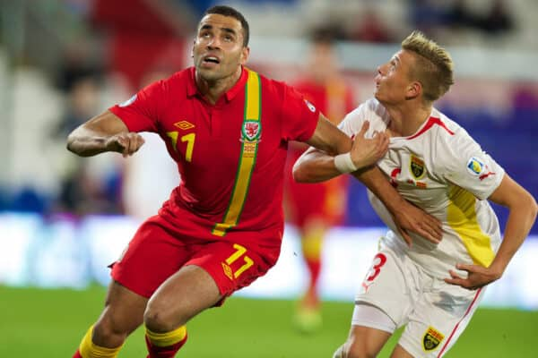 CARDIFF, WALES - Friday, October 11, 2013: Wales' Hal Robson-Kanu in action against Macedonia's Ezgjan Alioski during the 2014 FIFA World Cup Brazil Qualifying Group A match at the Cardiff City Stadium. (Pic by David Rawcliffe/Propaganda)