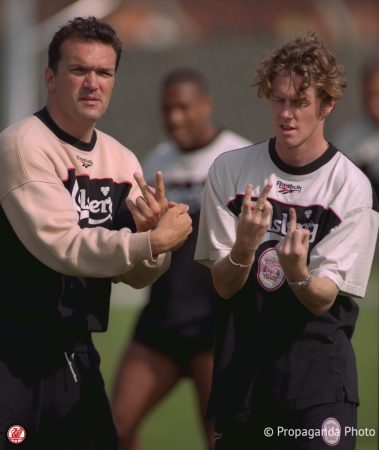 Liverpool's Neil Ruddock (L) and Steve McManaman during at the club's Melwood Training Ground. (Pic by David Rawcliffe/Propaganda)