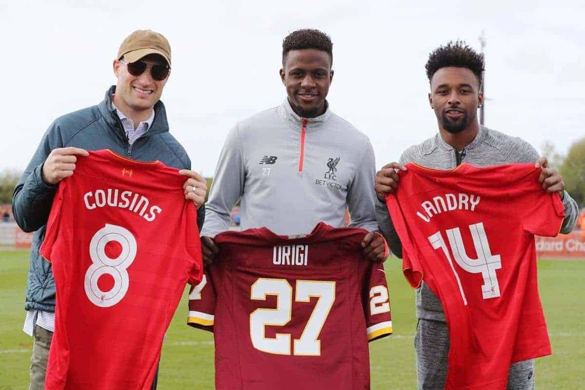 Washington Redskins Quarterback Kirk Cousins and Miami Dolphins Wide Receiver Jarvis Landry meet Liverpool's Divock Origi at Liverpool FC Academy Kirby Liverpool on Tuesday April 11th 2017 Picture Dave Shopland/NFL Uk