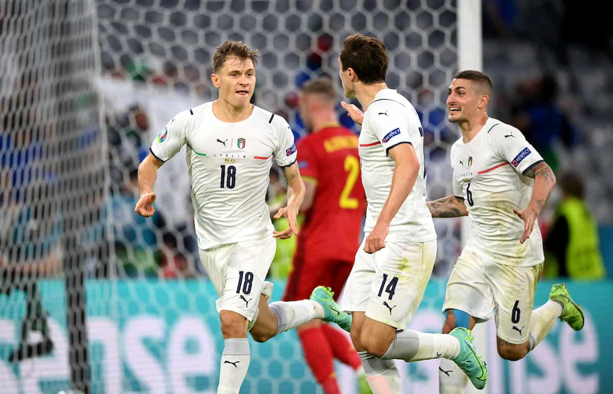 MUNICH, GERMANY - JULY 02: Nicolo Barella of Italy celebrates after scoring their side's first goal during the UEFA Euro 2020 Championship Quarter-final match between Belgium and Italy at Football Arena Munich on July 02, 2021 in Munich, Germany. (Photo by Sebastian Widmann - UEFA)