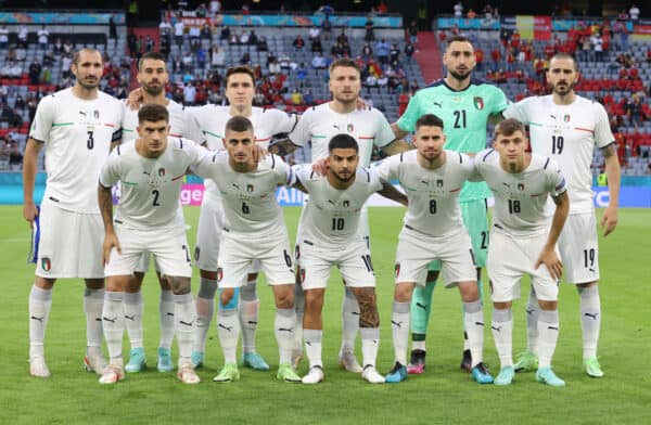 MUNICH, GERMANY - JULY 02: Players of Italy pose for a team photograph prior to the UEFA Euro 2020 Championship Quarter-final match between Belgium and Italy at Football Arena Munich on July 02, 2021 in Munich, Germany. (Photo by Alex Grimm - UEFA)