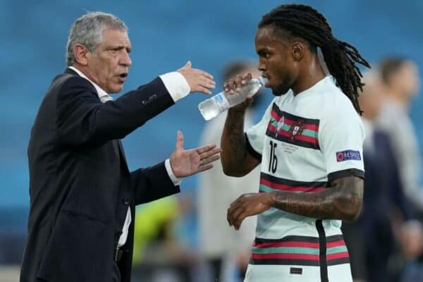 SEVILLE, SPAIN - JUNE 27: Fernando Santos, Head Coach of Portugal gives instructions to Renato Sanches of Portugal during the UEFA Euro 2020 Championship Round of 16 match between Belgium and Portugal at Estadio La Cartuja on June 27, 2021 in Seville, Spain. (Photo by Thanassis Stavrakis - Pool/UEFA via Getty Images)