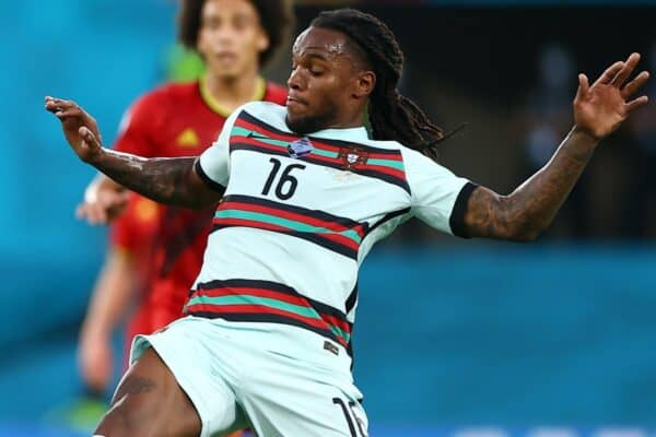 SEVILLE, SPAIN - JUNE 27: Renato Sanches of Portugal battles for possession with Youri Tielemans of Belgium during the UEFA Euro 2020 Championship Round of 16 match between Belgium and Portugal at Estadio La Cartuja on June 27, 2021 in Seville, Spain. (Photo by Fran Santiago - UEFA)