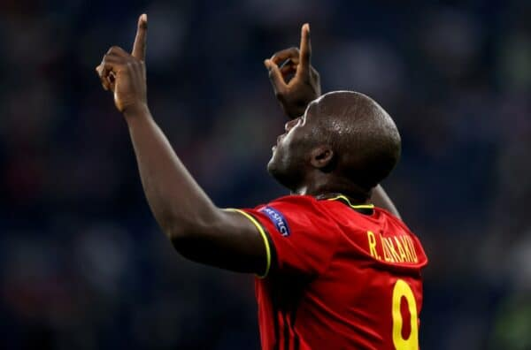 SAINT PETERSBURG, RUSSIA - JUNE 12: Romelu Lukaku of Belgium celebrates after scoring their side's first goal during the UEFA Euro 2020 Championship Group B match between Belgium and Russia on June 12, 2021 in Saint Petersburg, Russia. (Photo by Gonzalo Arroyo - UEFA/UEFA via Getty Images)