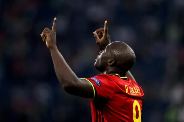 SAINT PETERSBURG, RUSSIA - JUNE 12: Romelu Lukaku of Belgium celebrates after scoring their side's first goal during the UEFA Euro 2020 Championship Group B match between Belgium and Russia on June 12, 2021 in Saint Petersburg, Russia. (Photo by Gonzalo Arroyo - UEFA)