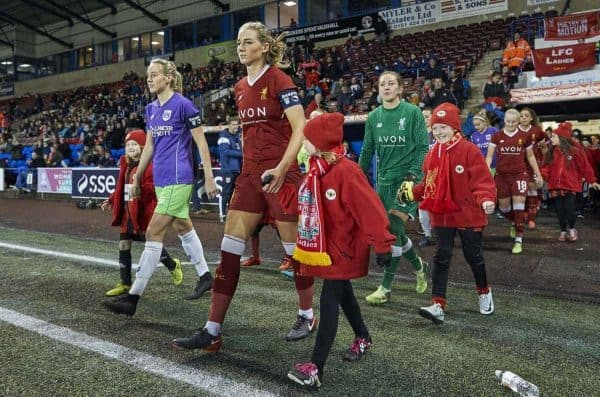 Captains Gemma Bonner of Liverpool Ladies and Millie Turner of Bristol City Women lead thier teams onto the pitch at the start of the Liverpool Ladies v Bristol City Women WSL game at Select Security Stadium on January 27, 2018 in Widnes, England. (Photo by Nick Taylor/Liverpool FC/Liverpool FC via Getty Images)