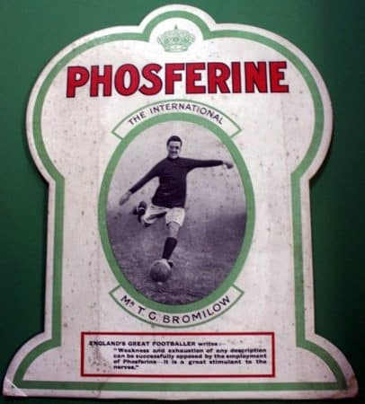 (Please credit within piece: The Bromilow family) Liverpool defender Tom Bromilow advertising Phosferine, 1920