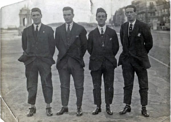(Please credit within piece: The Bromilow family) Jock McNab, Walter Wadsworth and Tom Bromilow, Liverpool 1920s
