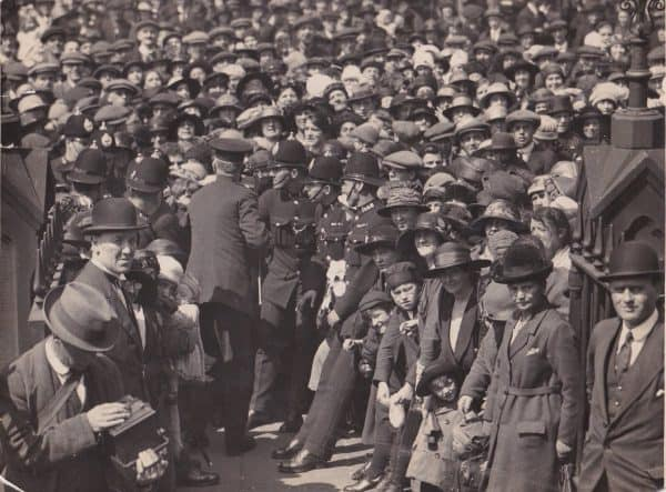 (Please credit within piece: The Bromilow family) Hundreds gather for Liverpool defender Tom Bromilow's wedding, 1923