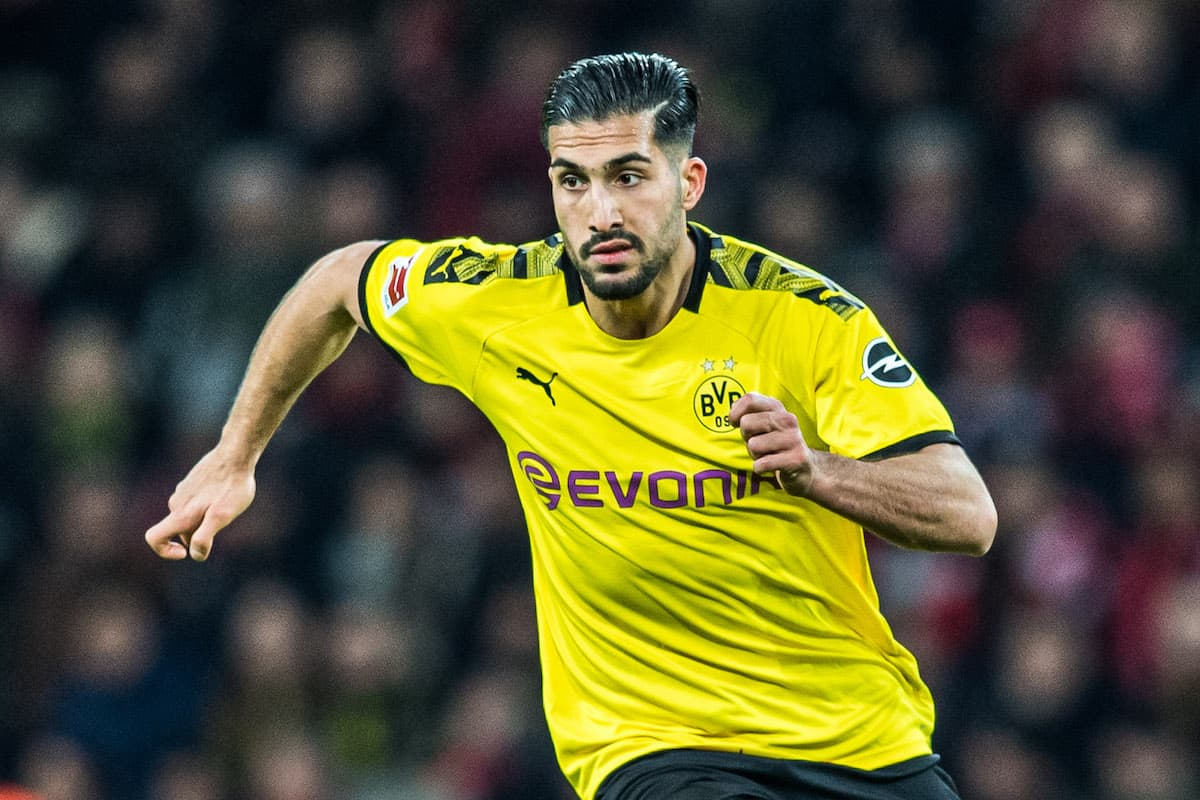 LEVERKUSEN, GERMANY - FEBRUARY 08: Emre Can of Dortmund in action during the Bundesliga match between Bayer 04 Leverkusen and Borussia Dortmund at BayArena on February 8, 2020 in Leverkusen, Germany. (Photo by Lukas Schulze/Bundesliga/Bundesliga Collection via Getty Images)