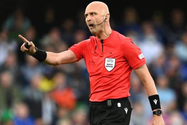 BELFAST, NORTHERN IRELAND - AUGUST 11: Match referee Sergei Karasev gestures during the UEFA Super Cup 2021 match between Chelsea FC and Villarreal CF at the National Football Stadium at Windsor Park on August 11, 2021 in Belfast, Northern Ireland. (Photo by Lukas Schulze - © UEFA)