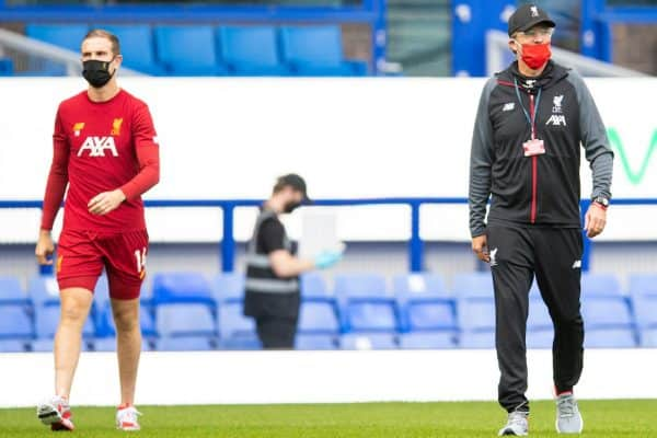 LIVERPOOL, ENGLAND - Sunday, June 21, 2019: Liverpool's captain Jordan Henderson (L) and manager Jürgen Klopp before the FA Premier League match between Everton FC and Liverpool FC, the 236th Merseyside Derby, at Goodison Park. The game was played behind closed doors due to the UK government's social distancing laws during the Coronavirus COVID-19 Pandemic. (Pic by David Rawcliffe/Propaganda)